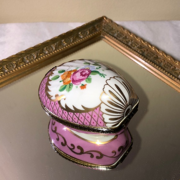 Hand painted Floral Lidded Trinket Box